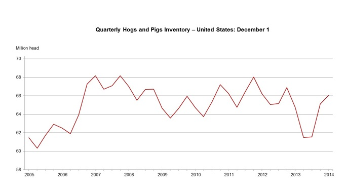 U.S. hogs and pigs inventory up two precent