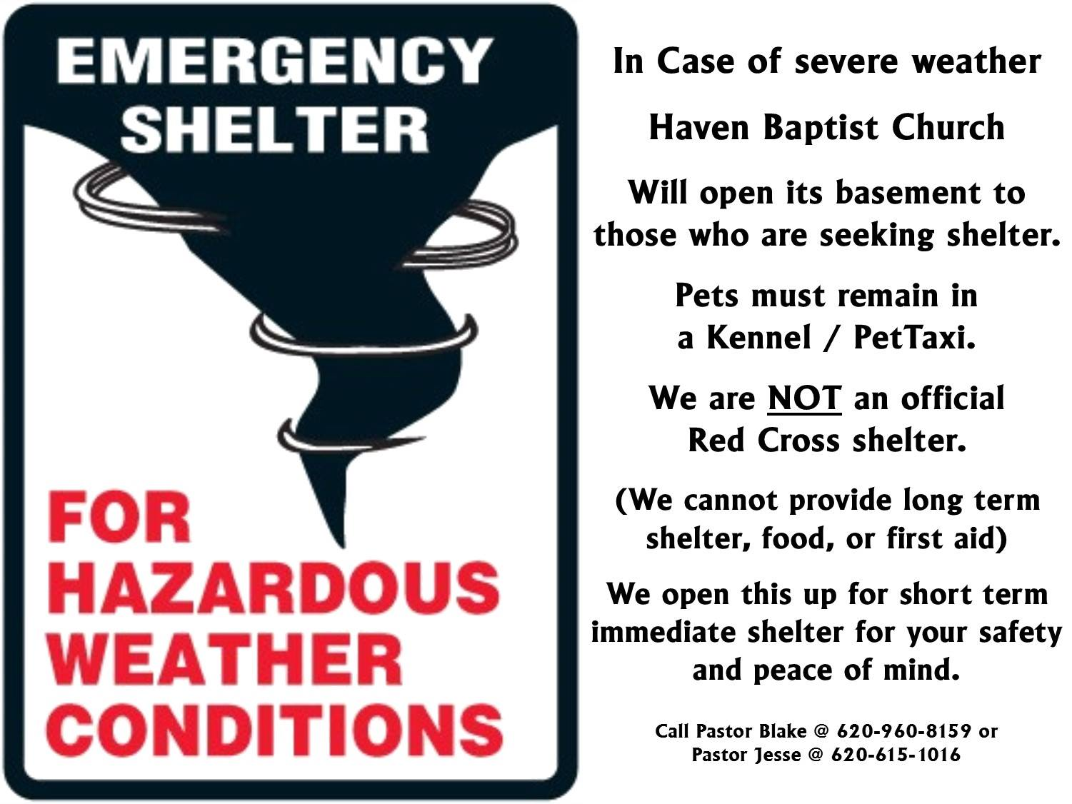 Haven Baptist Storm Shelter Information