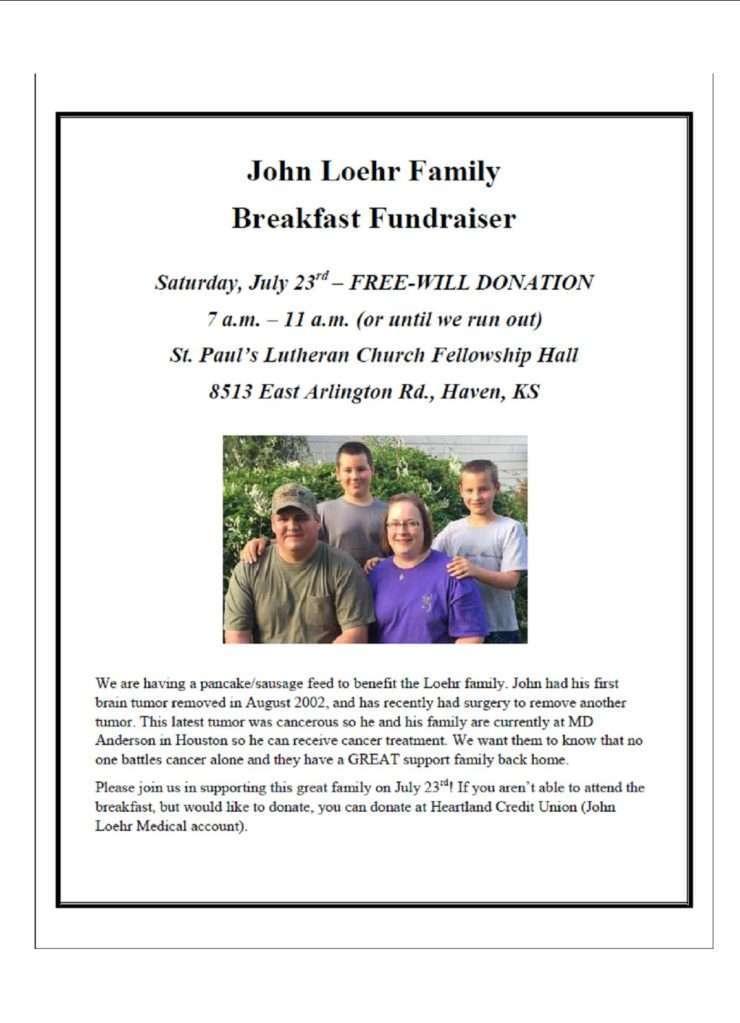 John Loehr Family - Breakfast Fundraiser