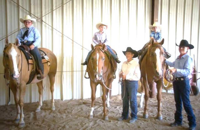 Proudest time for Elmer and Shirley Brown is when their great-grandsons Ethan, Spencer and Caleb Sultz of Wichita compete in horse shows. They're shown with great-grandma Shirley and Grandma Jan Stockdale.
