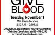 Haven: Mid Kansas Cooperative blood drive on November 1