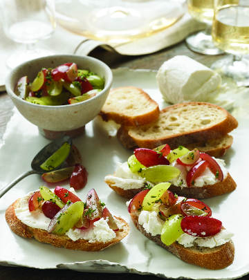 Grape and Goat Cheese Crostini