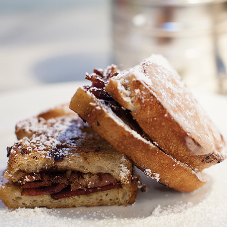 Duck Bacon and Brie Cheese Stuffed French Toast