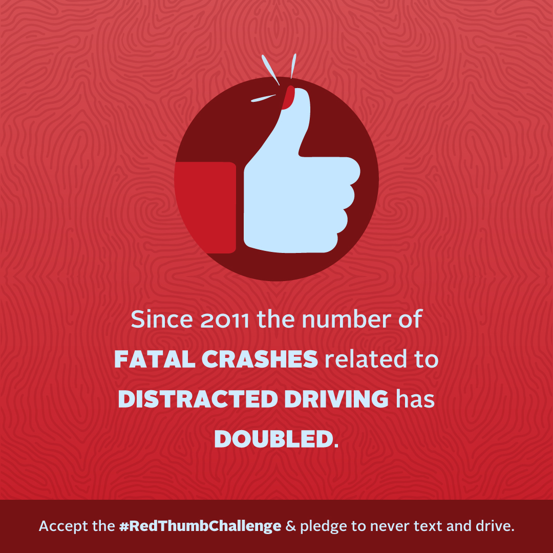 KDOT launches Red Thumb Challenge for National Distracted Driving Awareness Month in April