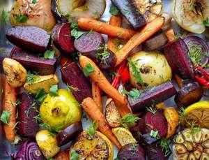 Roasted Root Vegetables with Lemon Honey Vinaigrette