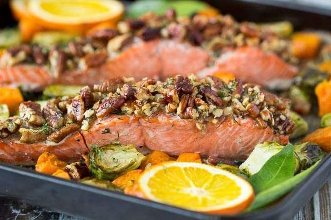 Pecan Encrusted Salmon with Sweet Potato Sauce