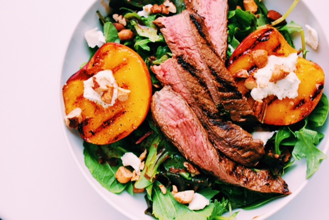 Skirt Steak with Grilled Peaches